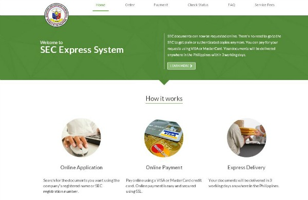 SEC Express Homepage rs