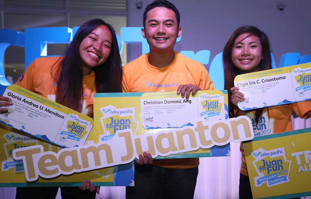 Cebu Pacific Juan for Fun Backpacking Challenge Winners for 2017!